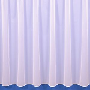 Sue White Plain Lead Weighted Voile Net Curtain - FREE DELIVERY