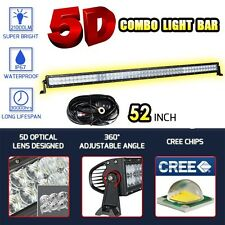 52inch 500W CREE 5D LED Spot Flood Combo Light Bar Offroad SUV Lamps +Wring Kit