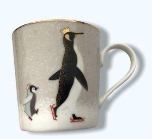 Portmeirion Sara Miller Christmas Collection Coffee Mug Penguins - New Boxed NIB