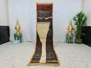 "Moroccan Boujaad Handmade Runner 2'2""x9'6"" Berber Patchwork White Purple Rug"