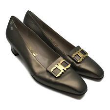 Salvatore Ferragamo Italy Ladies Bronze Metallic Leather Pumps Heels 9 AA