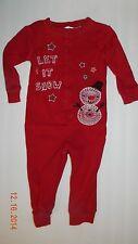 MINIWEAR boys girls Red Snowman LET IS SNOW Romper Sleeper* 18 months