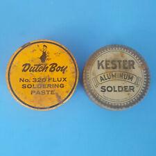 Vintage Cans Tins - Dutch Boy 320 Flux Soldering Paste, Kester Aluminum Solder
