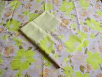 Vintage Yellow Bordered Floral Print Pillow Cases Set of 2 Springmaid Lovely