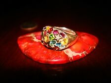 Stunning Vintage Sterling Silver, Natural Diamonds & Multicolor Gems Ring.925