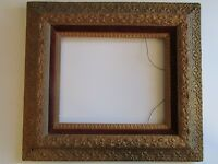 VERY ORNATE WOOD FRAME PAINTING PRINT PHOTO ANTIQUE 19TH CENTURY FLORAL MOTIF