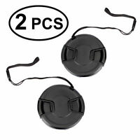 2pcs 52mm Center Pinch Snap-On Lens Cap with Leash Canon Nikon Sony DSLR Camera