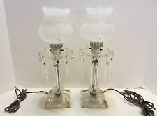 Pair of Vintage Clear Glass Hurricane Lamps with Crystal Prisms Buffet  Boudoir