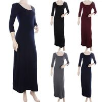 Round Neck Half Sleeve Solid Maxi Dress Full Length Long Round Neck Simple S M L
