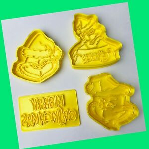 Christmas The Grinch Set Of 4 Cookie Cutters Pastry Icing Biscuits