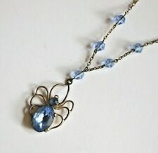Vintage Original Art Deco Charles Horner Style Blue Spider Pendant & Necklace