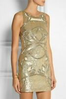 NEEDLE & THREAD @ ASOS GOLD HEAVY SEQUIN DRESS SIZE 14 christmas party