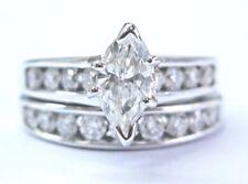 Marquise & Round NATURAL Diamond Engagement White Gold Wedding Set 2.50Ct 14KT