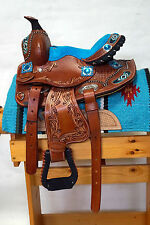 "10"" Youth Western Brushed Oil Tooled Leather Saddle w Teal Suede & Bead Accents"