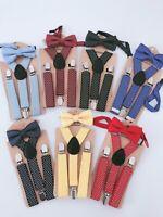 Children Party Costume Wedding Pants Dots Kids Suspender Brace Belt Clip Bowtie