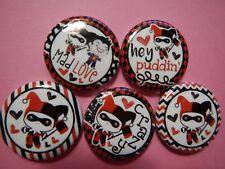"5 Harley Quinn Joker Kawaii Cute Comic Deco  1"" Pinback Button Pin Badge Set"
