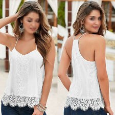 Women Summer Lace Vest Top Sleeveless Blouse Casual Tank Tops T-Shirt