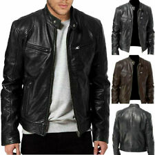 Mens Soft Leather Bomber Jacket Classic Slim Fit Casual Coat Motorcycle Outdoor