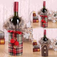 Plaid Faux Fur Wine Bottle Cover Bags Christmas Dinner Party Xmas Table Decor