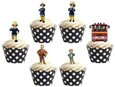 FIREMAN SAM  Edible cake party toppers x 24 STAND UPS