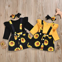 Toddler Baby Girls Outfit Romper Tops Jumpsuit Suspender Skirt Sunflower Clothes