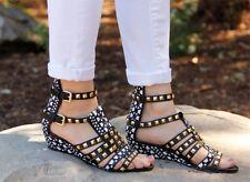 ZARA Tribal Ethnic Mini Wedge Black Gold Studded Sandals Heels UK 7 Euro 40