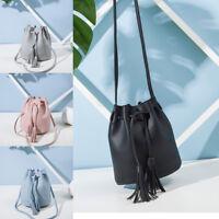 Durable Simple Fashion Ladies PU Leather Handbag with Tassel Bucket Bags Women