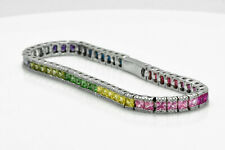 "925 Sterling Silver Rainbow MultiColor Diamond Sapphire Tennis 7"" inch Bracelet"