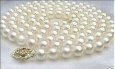 "35"" AAA+ 9-10MM AKOYA WHITE PEARL NECKLACE 14K GOLD CLASP"