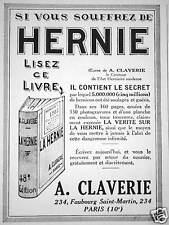 PUBLICITÉ 1930 A. CLAVERIE SI VOUS SOUFFREZ DE HERNIE LISEZ CE LIVRE