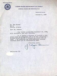 J Edgar Hoover Jsa Certed Signed 1955 Letter Autograph