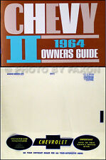 1964 Nova  and Chevy II Owners Manual with Envelope 64 Chevrolet Owner Guide SS
