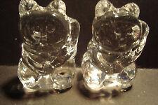 Genuine Handmade Pair of  Spun Glass ~Lucky Cats~Figure~Ornament~Boxed~uk seller