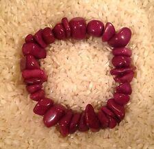 NEW Western Chunky Beaded Purple Chip Stone Elastic Stretch Adjustable Bracelet