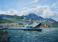 """California Clipper"" Tom Freeman Print - Boeing-314 Outbound from Hong Kong 1939"