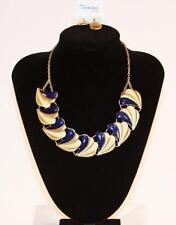 Gold Tone Blue Cream Jxer New Necklace & Earrings Set Premium Fashion Jewelry