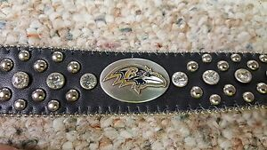 Baltimore Ravens Leather Belt Rhinestone Fancy Style Glitz Bling S M L XL XXL