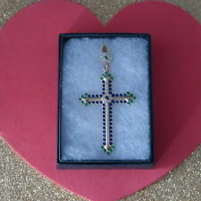 925 Silver & Bronze Cross With Sapphire Emerald Topaz 7.5 Gr. 7 x 3.8 Cm. Wide