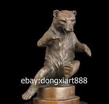 22 CM Western Art Pure Bronze Bear Selenarctos thebetanus Animal Art Sculpture