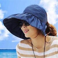 Chic Women Lady Summer Sun Beach Hats Foldable Roll Up Wide Brim Visor H LSW