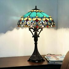 """Tiffany Style 2-light Table Lamp Metal Base Yellow Green Stained Glass 26"""" High"""