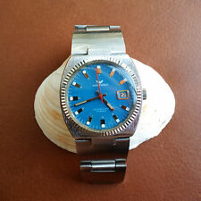 Vintage Waltham Watch w/Mint Powder Blue Dial,Divers Case,Orig Band FOR REPAIR