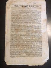 NEWSPAPERS--2 NILES' WEEKLY REGISTERS--Sept 16 1826
