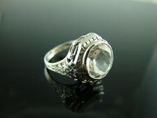 Sterling Silver Antique Style Filigree Ring With Natural White Topaz Gemstone 10