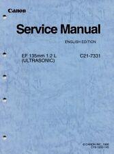 Canon EF 135mm F2 L (Ultrasonic) Lens Service and Repair Manual C21-7331