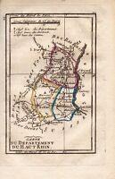 Carte géographique XVIIIe Haut Rhin 1798 Chefs Lieux du Département Tardieu