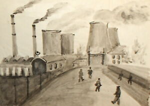 Vintage expressionist ink painting cityscape factory