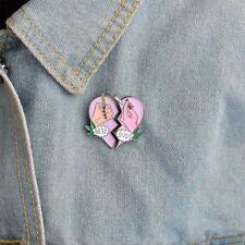 Gift BEST BUDS Broken Heart Shape Pins Enamel Brooches Fashion Jewelry Badges