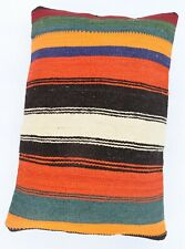 Striped Lumbar Kilim Pillowcase, Decorative Rustic Style Pillow Cover,16''x 24''