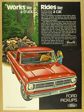 1972 Ford Pickup red Truck loading Firewood photo vintage print Ad